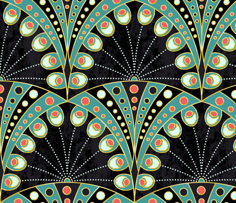 art deco peacock feathers fabric by lilalunis on Spoonflower - custom fabric