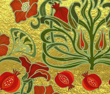 Art Deco Pomegranate Golden Garden  fabric by honoluludesign on Spoonflower - custom fabric