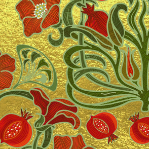 Art Deco Pomegranate Golden Garden