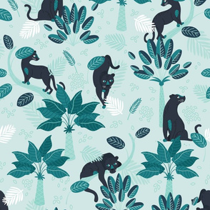 Tropical Panther - mint and black