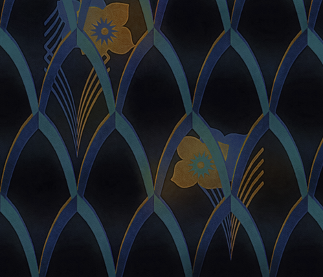 Art deco blue and gold fabric by dessineo on Spoonflower - custom fabric