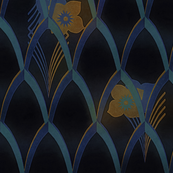 Art deco blue and gold