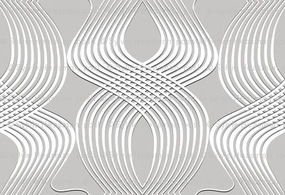 Art Deco Swirl White on Silver