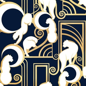 Deco Gatsby Panthers // normal scale // navy and gold