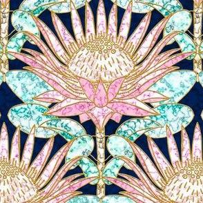 Pink King Protea Art Deco (navy) N1
