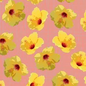 large yellow hibiscus on peach crosshatch