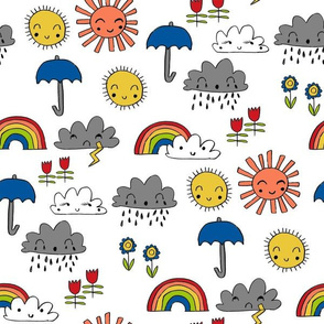weather // rainbow clouds sunshine happy nursery kids fabric white blue