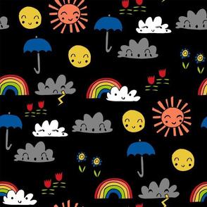weather // rainbow clouds sunshine happy nursery kids fabric black