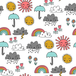 weather // rainbow clouds sunshine happy nursery kids fabric white multi