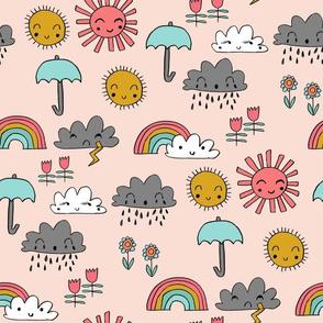 weather // rainbow clouds sunshine happy nursery kids fabric blush