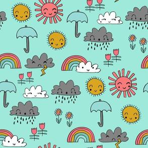 weather // rainbow clouds sunshine happy nursery kids fabric mint