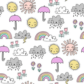 weather // rainbow clouds sunshine happy nursery kids fabric white pastel