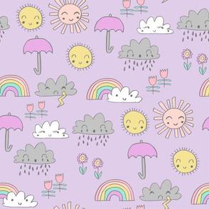 weather // rainbow clouds sunshine happy nursery kids fabric purple