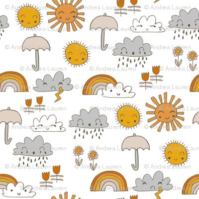 weather // rainbow clouds sunshine happy nursery kids fabric white orange
