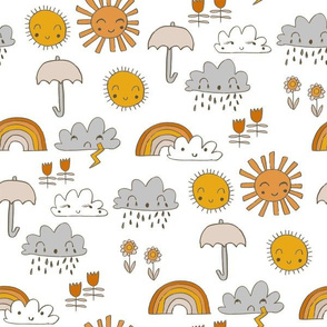 weather // rainbow clouds sunshine happy nursery kids fabric white orange