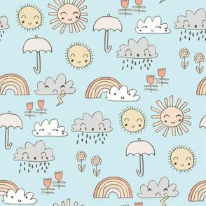 weather // rainbow clouds sunshine happy nursery kids fabric blue