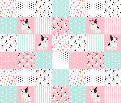 frenchie quilt french bulldog cheater quilt dog fabric nursery fabric by charlottewinter on Spoonflower - custom fabric