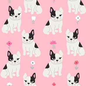 frenchie quilt french bulldog pink and grey cheater quilt coordinates fabric nursery