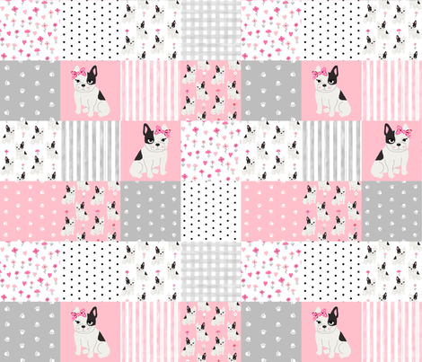Frenchie quilt french bulldog pink and grey cheater quilt for Pink and grey nursery fabric