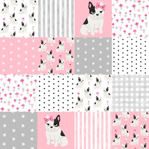 frenchie quilt french bulldog pink and grey cheater quilt fabric nursery