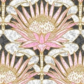 Blush King Protea Art Deco (slate)