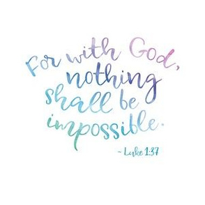 "with God, nothing shall be impossible (6x6"",  green-blue-purple watercolor)"