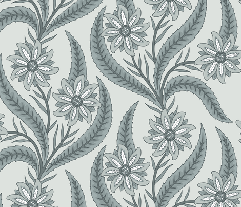 Monochromatic floral fabric by andie_hanna on Spoonflower - custom fabric