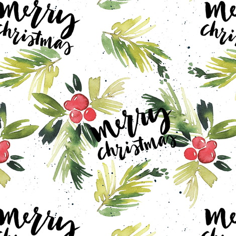 Merry Christmas Red Berry Holly fabric by hipkiddesigns on Spoonflower - custom fabric