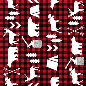 buffalo plaid woodland christmas winter fall cabin print - railroad