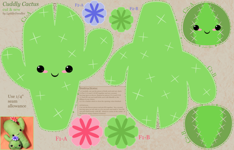 Cuddly Cactus Cut-and-Sew fabric by lyddiedoodles on Spoonflower - custom fabric