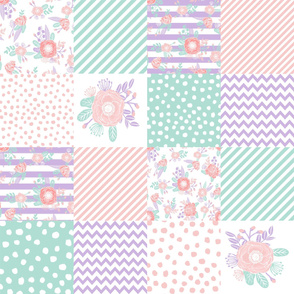 "floral cheater quilt lavender and mint cheater floral design baby girl nursery fabric - 8"" square"