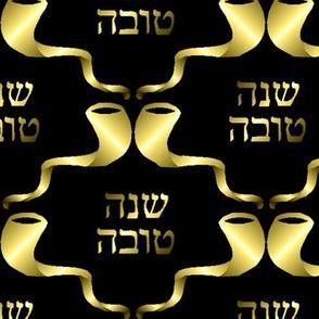 L'Shanah Tovah! Gold on Black