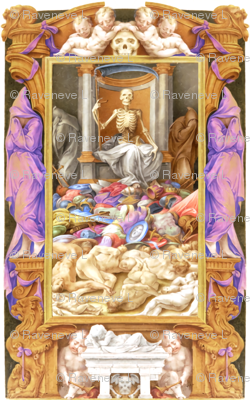 skeletons grim reaper gargoyles monsters sad cherubs angels infants baby skulls crying mourning death scythe dead bodies body war battles shields armor griffins gryphons griffons eerie macabre spooky bizarre morbid gothic hooded corpses baroque rococo