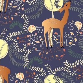 art deco deer blue