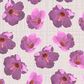 Large purple hibiscus on crosshatch