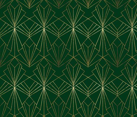 Art Deco on Emerald Green fabric by thewellingtonboot on Spoonflower - custom fabric