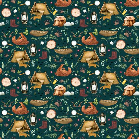 "4"" Summer Camp - Dark Aqua fabric by shopcabin on Spoonflower - custom fabric"