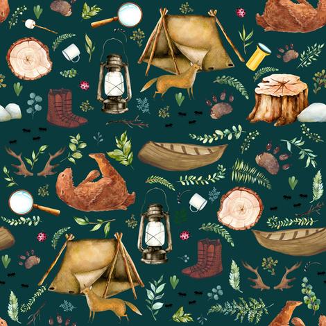 "8"" Summer Camp - Dark Aqua fabric by shopcabin on Spoonflower - custom fabric"