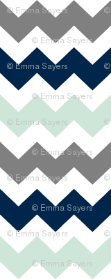 Navy/Grey/Mint Chevron