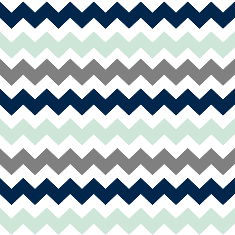 Navy/Grey/Mint Chevron fabric by longdogcustomdesigns on Spoonflower - custom fabric