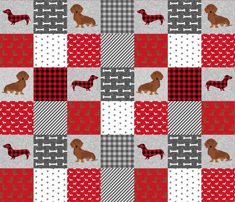 dachshund pet quilt a dog breed cheater quilt fabric by petfriendly on Spoonflower - custom fabric
