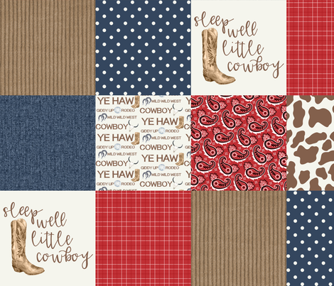 Western/Sleep Well Little Cowboy - Wholecloth Cheater Quilt  fabric by longdogcustomdesigns on Spoonflower - custom fabric