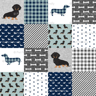 dachshund pet quilt b dog breed silhouette cheater quilt black and tan