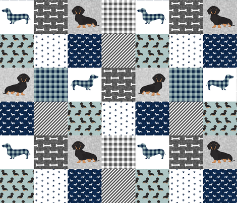 dachshund pet quilt b dog breed silhouette cheater quilt black and tan fabric by petfriendly on Spoonflower - custom fabric