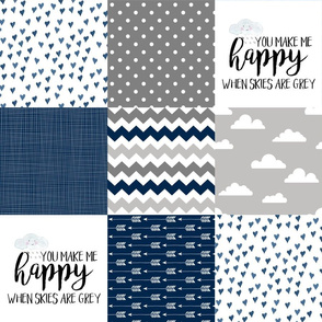 You are my Sunshine - Wholecloth Cheater quilt - Navy
