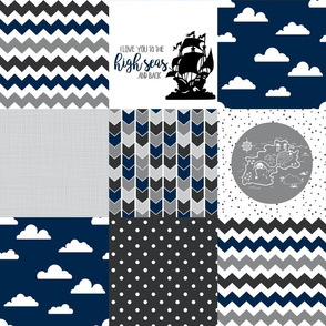 Pirate -  Wholecloth Cheater Quilt - Navy/Grey