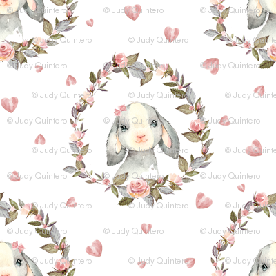 """2.5"""" Pink Bunny with Bow and Hearts"""