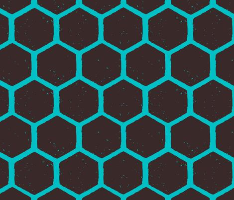 hexagon blockprint blue-01 fabric by kristin_nicholas on Spoonflower - custom fabric