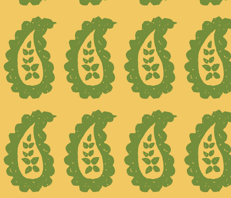 Paisley Stamped Fabric Gold Olive fabric by kristin_nicholas on Spoonflower - custom fabric
