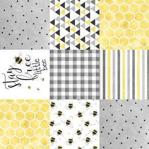 Stay Free Little Bee - Wholcloth Cheater Quilt - rotated